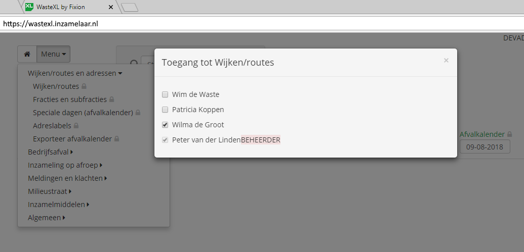 Toegang tot WasteXL instelbaar per gebruiker