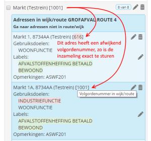 WasteXL volgorde per adres instelbaar