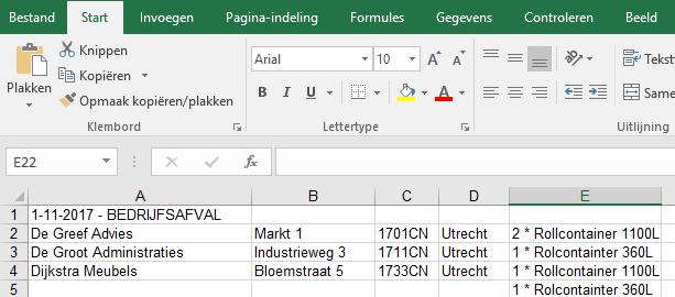 WasteXL bedrijfsafval Excel